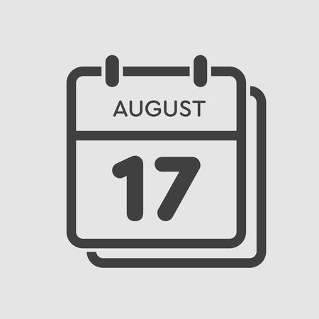 Vector icon calendar day - 17 August. Days of the year. Vector illustration flat style. Date day of month Sunday, Monday, Tuesday, Wednesday, Thursday, Friday, Saturday. Summer holidays spring August.