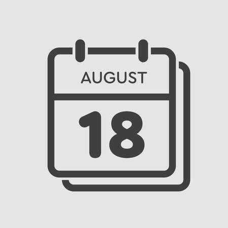 Vector icon calendar day - 18 August. Days of the year. Vector illustration flat style. Date day of month Sunday, Monday, Tuesday, Wednesday, Thursday, Friday, Saturday. Summer holidays spring August. Ilustracja