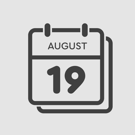 Vector icon calendar day - 19 August. Days of the year. Vector illustration flat style. Date day of month Sunday, Monday, Tuesday, Wednesday, Thursday, Friday, Saturday. Summer holidays spring August.