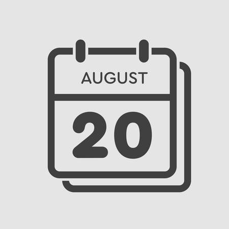 Vector icon calendar day - 20 August. Days of the year. Vector illustration flat style. Date day of month Sunday, Monday, Tuesday, Wednesday, Thursday, Friday, Saturday. Summer holidays spring August. Ilustracja