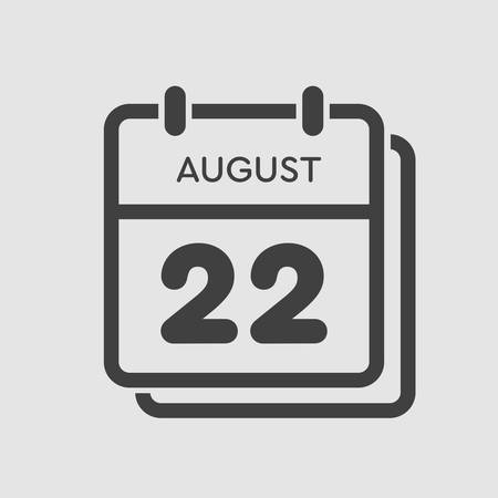 Vector icon calendar day - 22 August. Days of the year. Vector illustration flat style. Date day of month Sunday, Monday, Tuesday, Wednesday, Thursday, Friday, Saturday. Summer holidays spring August.