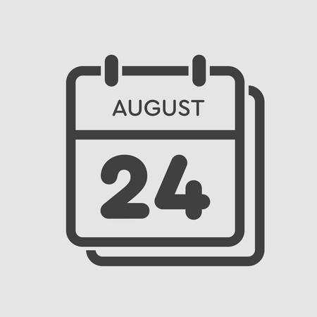 Vector icon calendar day - 24 August. Days of the year. Vector illustration flat style. Date day of month Sunday, Monday, Tuesday, Wednesday, Thursday, Friday, Saturday. Summer holidays spring August. Ilustracja