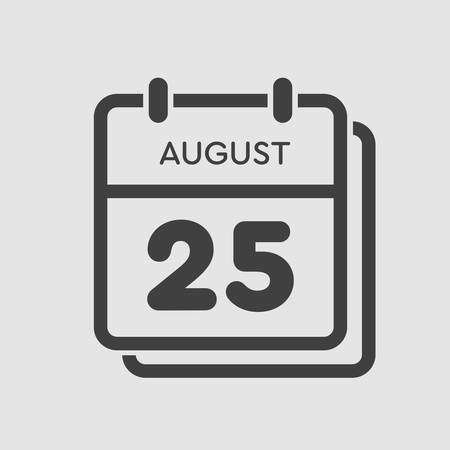 Vector icon calendar day - 25 August. Days of the year. Vector illustration flat style. Date day of month Sunday, Monday, Tuesday, Wednesday, Thursday, Friday, Saturday. Summer holidays spring August. Ilustracja