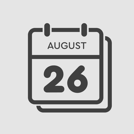 Vector icon calendar day - 26 August. Days of the year. Vector illustration flat style. Date day of month Sunday, Monday, Tuesday, Wednesday, Thursday, Friday, Saturday. Summer holidays spring August. Ilustracja
