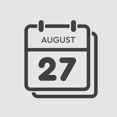 Vector icon calendar day - 27 August. Days of the year. Vector illustration flat style. Date day of month Sunday, Monday, Tuesday, Wednesday, Thursday, Friday, Saturday. Summer holidays spring August.
