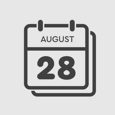 Vector icon calendar day - 28 August. Days of the year. Vector illustration flat style. Date day of month Sunday, Monday, Tuesday, Wednesday, Thursday, Friday, Saturday. Summer holidays spring August.