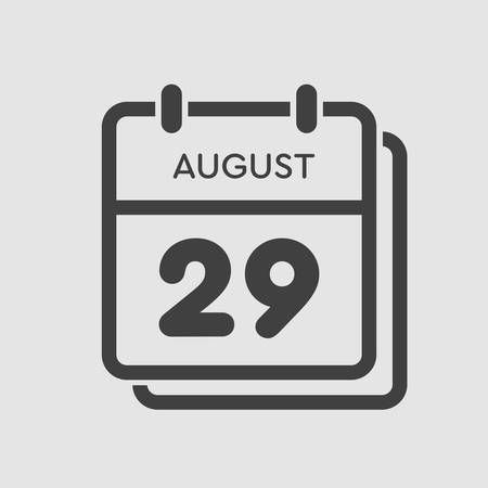 Vector icon calendar day - 29 August. Days of the year. Vector illustration flat style. Date day of month Sunday, Monday, Tuesday, Wednesday, Thursday, Friday, Saturday. Summer holidays spring August. Ilustracja