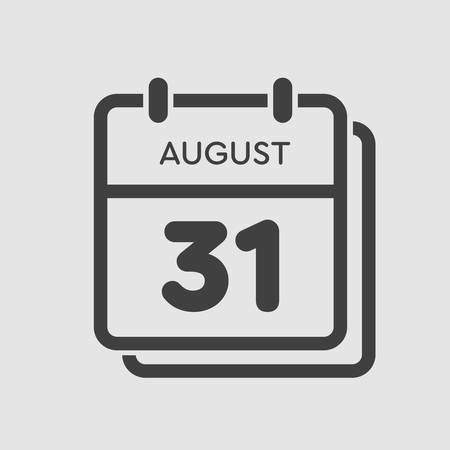 Vector icon calendar day - 31 August. Days of the year. Vector illustration flat style. Date day of month Sunday, Monday, Tuesday, Wednesday, Thursday, Friday, Saturday. Summer holidays spring August.