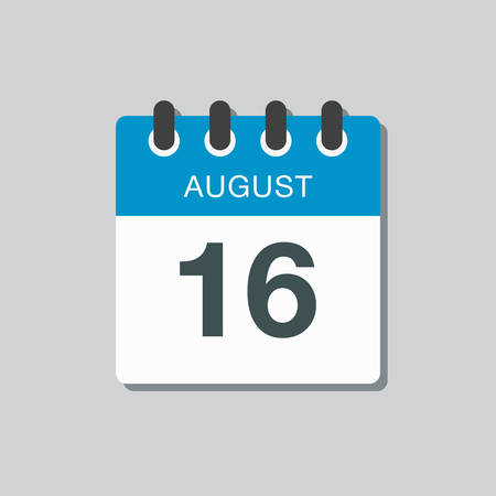 Vector icon calendar day - 16 August. Days of the year. Vector illustration flat style. Date day of month Sunday, Monday, Tuesday, Wednesday, Thursday, Friday, Saturday. Summer holidays spring August.