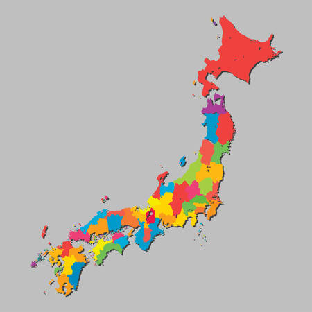 High detailed vector Japan islands country map with puzzle pieces isolated on background. Japanese state template education pattern, report, infographics. National business jigsaw sign concept