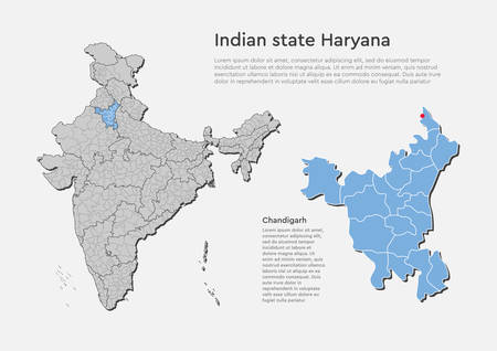 Detailed vector India country outline border map isolated on background. Haryana state, region, area, province, territory, department for your report, infographic, backdrop, business concept. Illustration