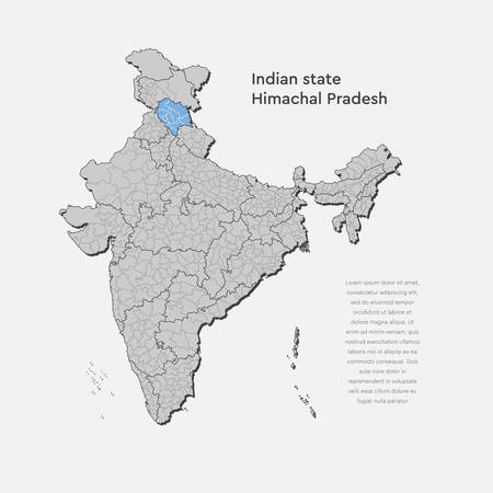 Detailed vector India country outline border map isolated on background. Himachal Pradesh state, region, area, province, territory, department for your report, infographic, backdrop, business concept Illustration