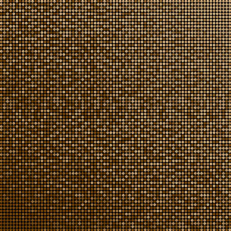 Gold sequins, glitters, sparkles, paillettes, mosaic background template. Abstract luxury halftone vector creative backdrop. Golden glitter rounds with gradient trendy. Shiny dots glitter texture. Illustration