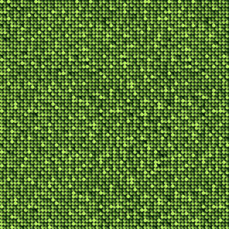 Green sequins, glitters, sparkles, paillettes, mosaic background template. Abstract luxury halftone vector creative backdrop. Green rounds with gradient trendy. Vibrant shiny dots glitter texture.