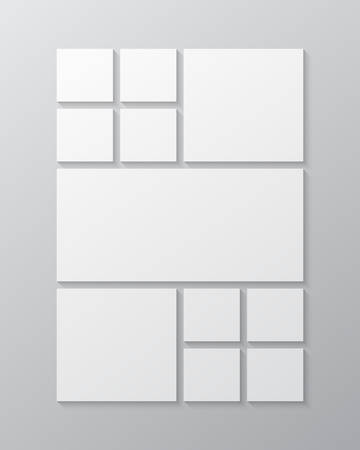 Templates collage eleven frames, photos, parts pictures, illustrations. Vector frame presentation. Creative theme with 11 part simple square border layout. Modern minimal vertical moodboard mockup. Illustration