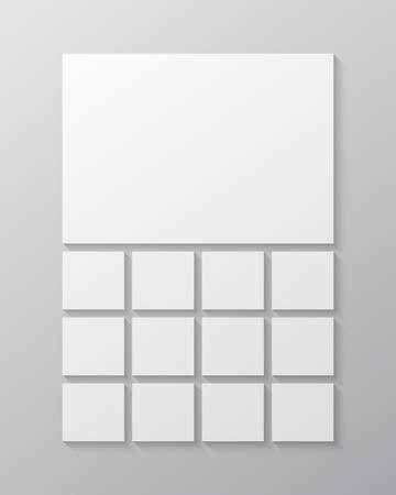 Templates collage thirteen frames, photos, parts pictures, illustrations. Vector frame presentation. Creative theme with 13 part simple square border layout. Modern minimal vertical moodboard mockup. Vectores