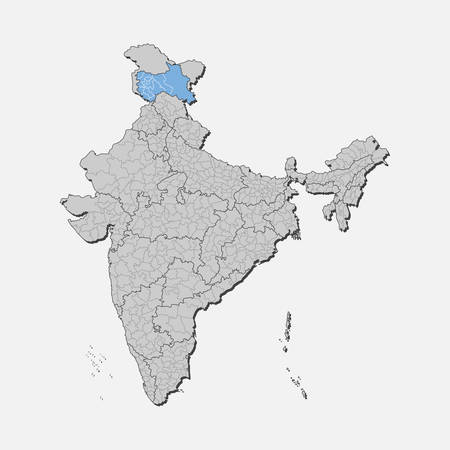 Detailed vector India country outline border map isolated on background. Jammu and Kashmir state, region, area, province, territory, department for your report, infographic, backdrop, business concept.