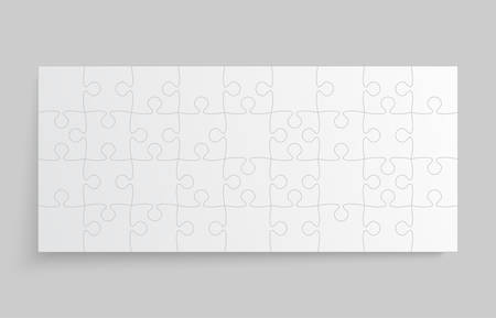 Background made with 36 white pieces puzzle. Vector rectangle banner jigsaw template with particles, details, tiles, parts. Frame pattern for education and presentation with element piece puzzle.