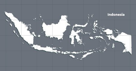 Detailed vector Indonesia country border map isolated on background. Flat state template travel trip pattern, report, infographic, backdrop. Asia nation business silhouette sign concept. Çizim