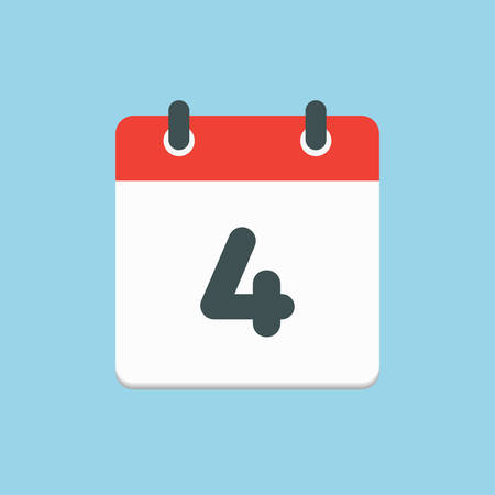Vector icon calendar day - number 4. Days of the year. Vector illustration flat style. Date day of month Sunday, Monday, Tuesday, Wednesday, Thursday, Friday, Saturday. Holidays date.