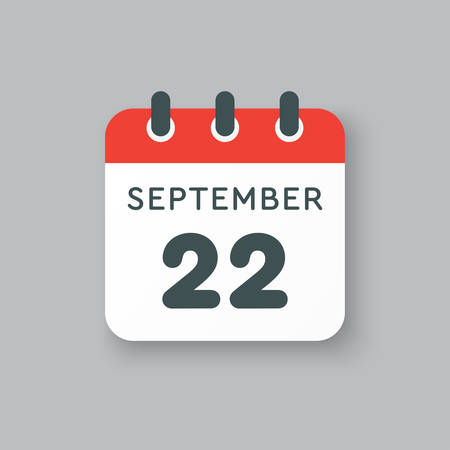 Vector icon calendar day - 22 September. Days of the year vector illustration flat style. Date day of month Sunday, Monday, Tuesday, Wednesday, Thursday, Friday, Saturday. Autumn holidays in September