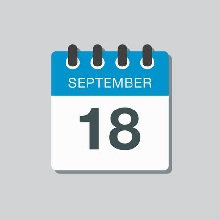 Vector icon calendar day - 18 September. Days of the year vector illustration flat style. Date day of month Sunday, Monday, Tuesday, Wednesday, Thursday, Friday, Saturday. Autumn holidays in September
