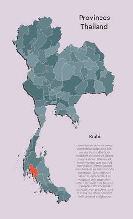 Detailed vector Thailand country border map isolated on background. Krabi province template travel trip pattern, report, infographic, backdrop. Asia nation business silhouette sign concept.