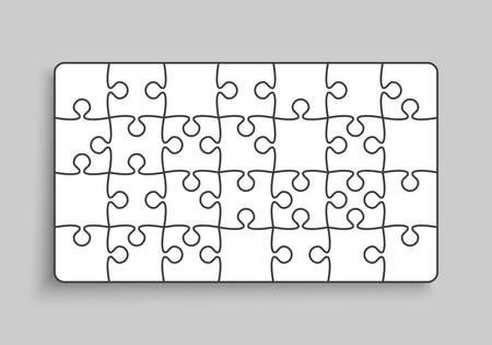 Background made with 28 white pieces puzzle. Vector rectangle banner jigsaw template with particles, details, tiles, parts. Frame pattern for education and presentation with element piece puzzle.