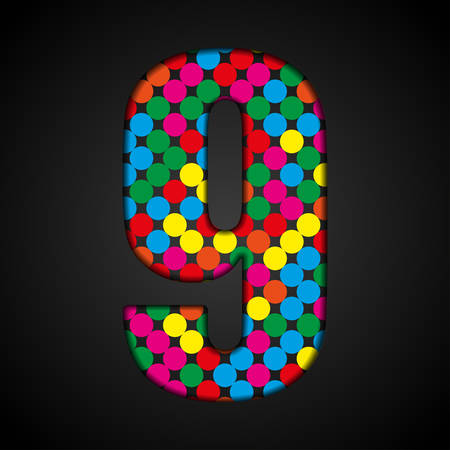 Vector sequins sign number - 9. Glitter font shape of colored dots, points, circles. Sequin type, alphabet, font. Creative disco club bright sparkle. Multi color glitters, sparkles, paillettes letters