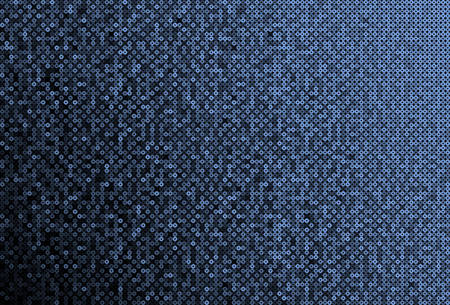 Blue sequins, glitters, sparkles, paillettes, mosaic background template. Abstract luxury halftone vector creative backdrop. Glitter rounds gradient trendy. Vibrant blue shiny dots glitter texture.