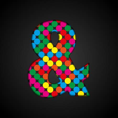 Vector alphabet sign made colorful dots - ampersand. Glitter font shape of color dots, points, circles. Creative disco club bright sparkle. Colour glitters, sparkles, paillettes letters. Alarm, attention, error.