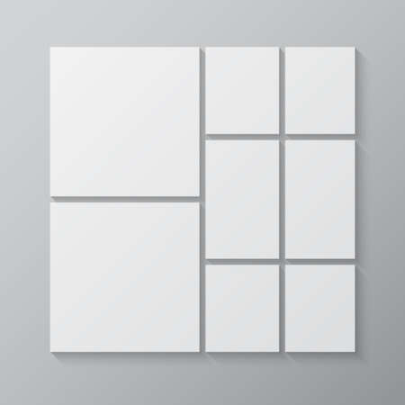 Templates collage eight frames, photos, parts pictures, illustrations. Vector frame branding presentation. Creative theme with 8 part simple square border layout. Modern minimal moodboard mockup.