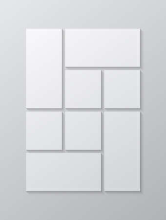 Templates collage eight frames, photos, parts pictures, illustrations. Vector frame presentation. Creative theme with 8 part simple square border layout. Modern minimal vertical moodboard mockup. Illustration