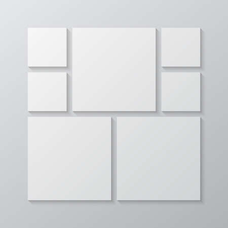 Templates collage seven frames, photos, parts pictures, illustrations. Vector frame branding presentation. Creative theme with 7 part simple square border layout. Modern minimal moodboard mockup. Illustration