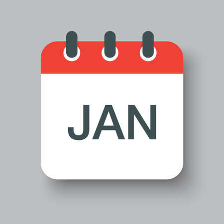 Vector icon calendar winter month - January. Sign of the year. Vector illustration. Illustration