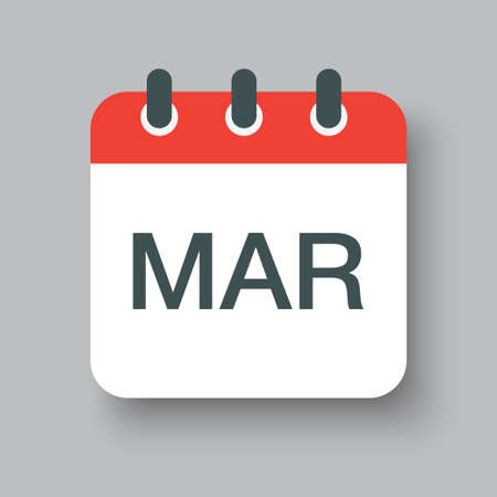Vector icon calendar winter month - March. Sign of the year. Vector illustration.