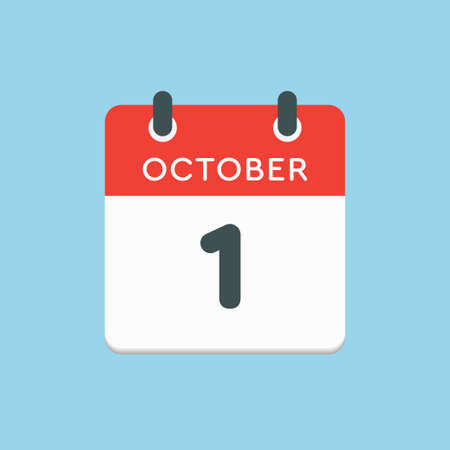 Vector icon calendar day - 1 October. Days of the year vector illustration flat style. Date day of month Sunday, Monday, Tuesday, Wednesday, Thursday, Friday, Saturday. Autumn holidays in October. Illustration