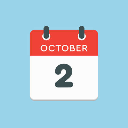 Vector icon calendar day - 2 October. Days of the year vector illustration flat style. Date day of month Sunday, Monday, Tuesday, Wednesday, Thursday, Friday, Saturday. Autumn holidays in October.
