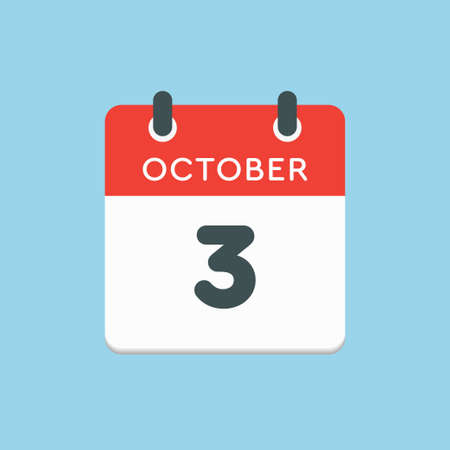 Vector icon calendar day - 3 October. Days of the year vector illustration flat style. Date day of month Sunday, Monday, Tuesday, Wednesday, Thursday, Friday, Saturday. Autumn holidays in October. Illustration