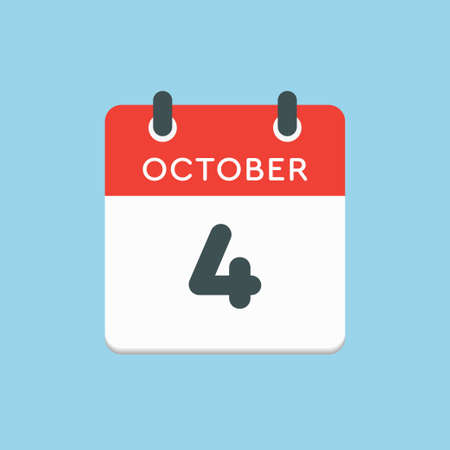 Vector icon calendar day - 4 October. Days of the year vector illustration flat style. Date day of month Sunday, Monday, Tuesday, Wednesday, Thursday, Friday, Saturday. Autumn holidays in October. Illustration
