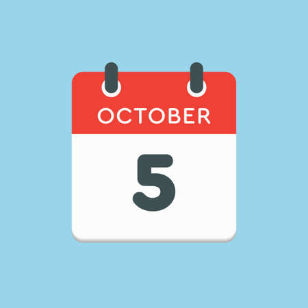 Vector icon calendar day - 5 October. Days of the year vector illustration flat style. Date day of month Sunday, Monday, Tuesday, Wednesday, Thursday, Friday, Saturday. Autumn holidays in October.