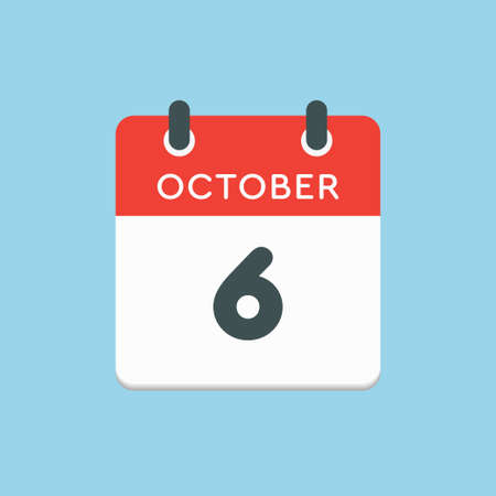 Vector icon calendar day - 6 October. Days of the year vector illustration flat style. Date day of month Sunday, Monday, Tuesday, Wednesday, Thursday, Friday, Saturday. Autumn holidays in October.