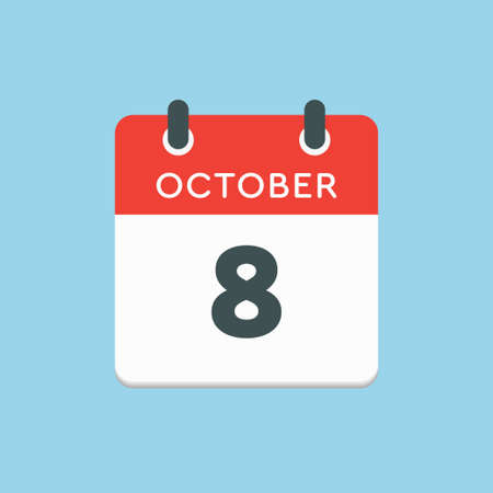 Vector icon calendar day - 8 October. Days of the year vector illustration flat style. Date day of month Sunday, Monday, Tuesday, Wednesday, Thursday, Friday, Saturday. Autumn holidays in October.