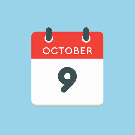 Vector icon calendar day - 9 October. Days of the year vector illustration flat style. Date day of month Sunday, Monday, Tuesday, Wednesday, Thursday, Friday, Saturday. Autumn holidays in October.