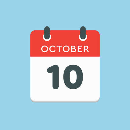 Vector icon calendar day - 10 October. Days of the year vector illustration flat style. Date day of month Sunday, Monday, Tuesday, Wednesday, Thursday, Friday, Saturday. Autumn holidays in October. Illustration