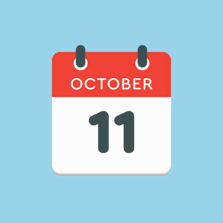 Vector icon calendar day - 11 October. Days of the year vector illustration flat style. Date day of month Sunday, Monday, Tuesday, Wednesday, Thursday, Friday, Saturday. Autumn holidays in October.