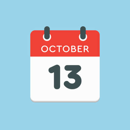 Vector icon calendar day - 13 October. Days of the year vector illustration flat style. Date day of month Sunday, Monday, Tuesday, Wednesday, Thursday, Friday, Saturday. Autumn holidays in October.