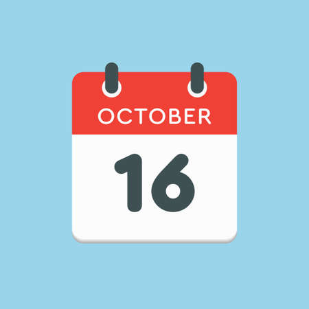 Vector icon calendar day - 16 October. Days of the year vector illustration flat style. Date day of month Sunday, Monday, Tuesday, Wednesday, Thursday, Friday, Saturday. Autumn holidays in October. Illustration