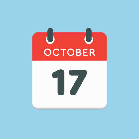 Vector icon calendar day - 17 October. Days of the year vector illustration flat style. Date day of month Sunday, Monday, Tuesday, Wednesday, Thursday, Friday, Saturday. Autumn holidays in October.