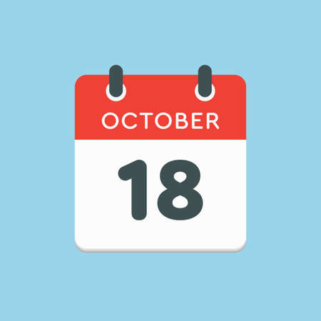 Vector icon calendar day - 18 October. Days of the year vector illustration flat style. Date day of month Sunday, Monday, Tuesday, Wednesday, Thursday, Friday, Saturday. Autumn holidays in October.